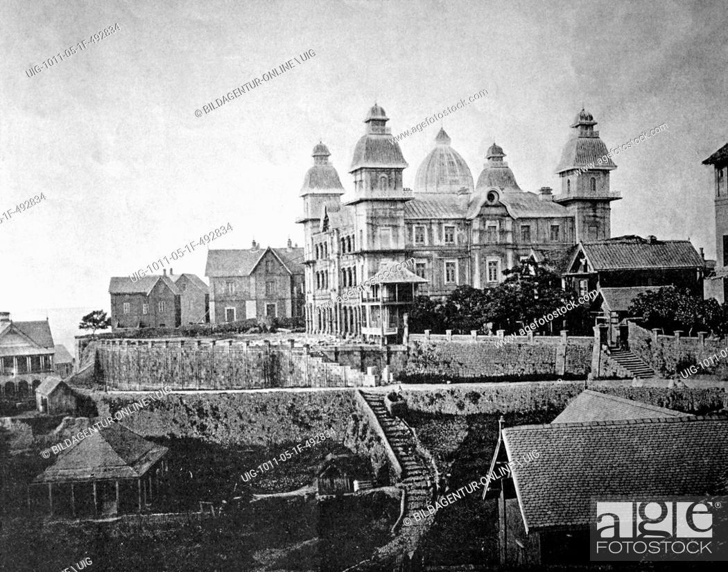 Stock Photo: One of the first autotype prints, the prime minister's palace, historic photograph, 1884, tananarive, antananarivo, madagascar.
