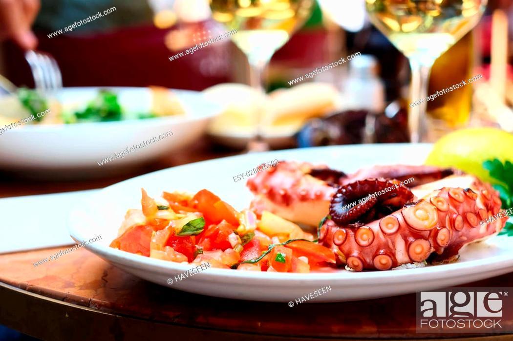 Stock Photo: Octopus salad close up. Shallow depth of field.