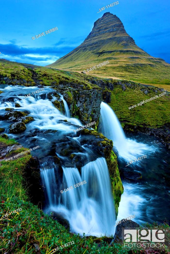 Stock Photo: Blue Hour, Kirkjufellsfoss, Kirkjufell, Waterfall, Mountain, Iceland, Europe.
