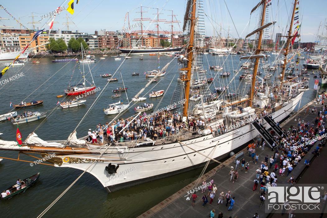Stock Photo: visitors at Sail 2015 in Amsterdam.