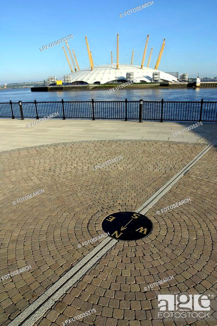 Stock Photo: Northpoint on the Greenwich Meridian Line of zero longitude. Isle of Dogs, Docklands, opposite the Millennium Dome. London, United Kingdom.