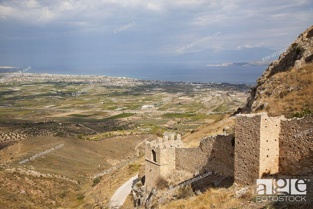 Stock Photo: Europe, Greece, Peloponnese, Corinth, acropolis of Acrocorinth.