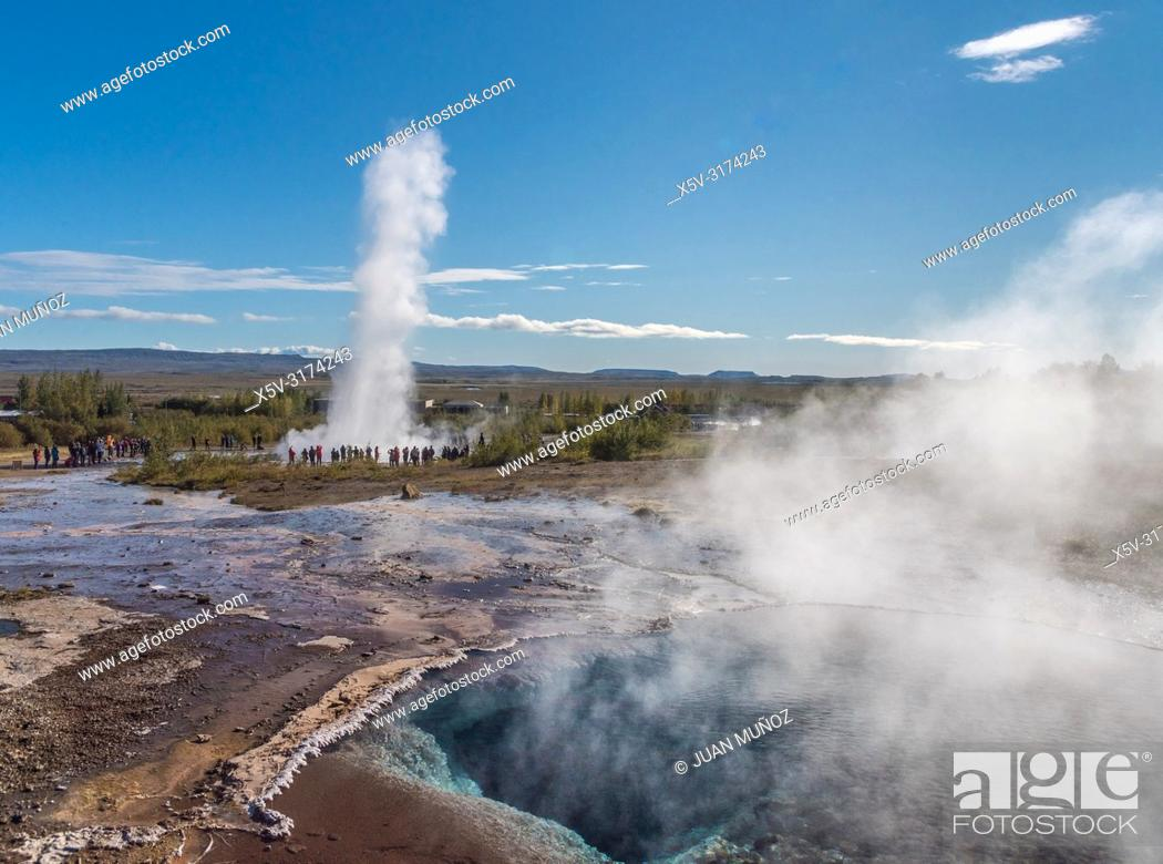 Stock Photo: Boiling waters. Geothermalism Geysir Golden Circle. Iceland.