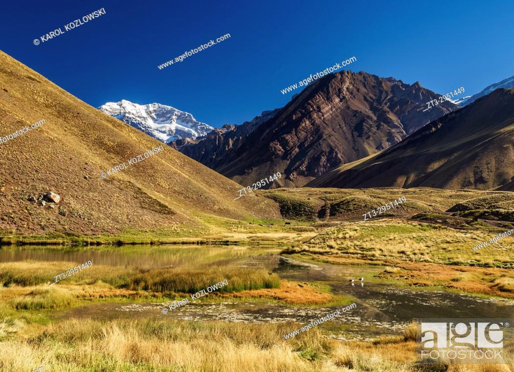 Stock Photo: Aconcagua Mountain and Horcones Lagoon, Aconcagua Provincial Park, Central Andes, Mendoza Province, Argentina.