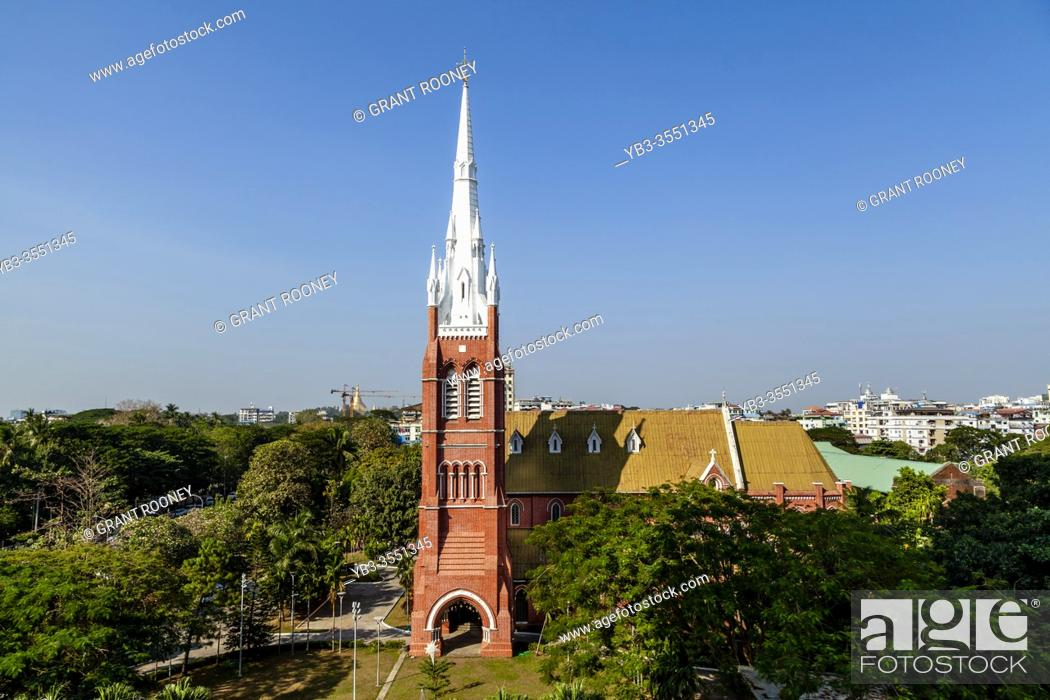 Stock Photo: Holy Trinity Cathedral, Yangon, Myanmar.