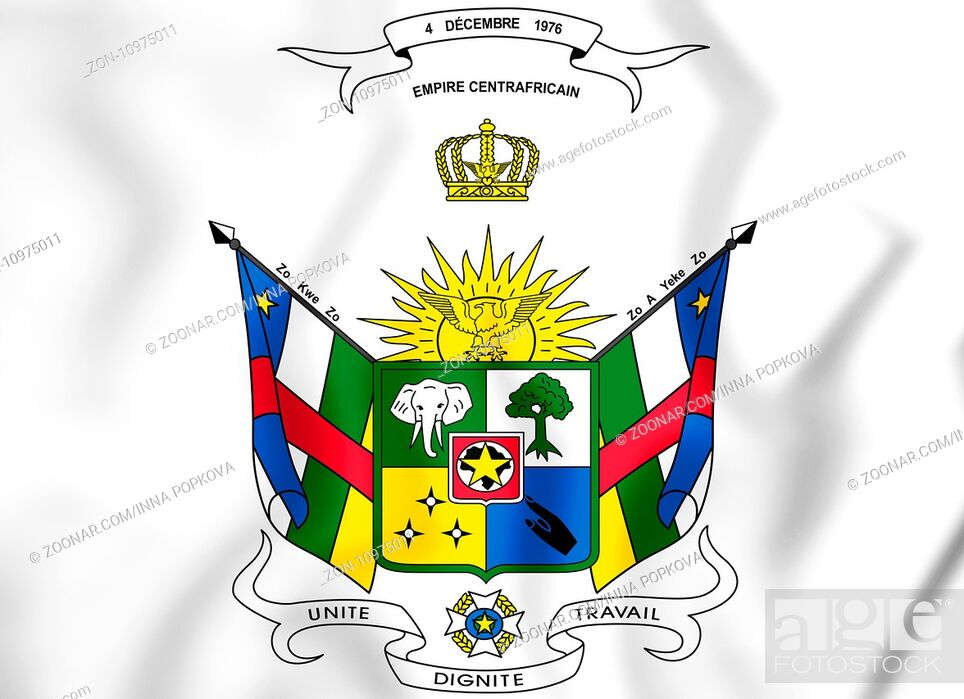Stock Photo: Central African Republic coat of arms (1976-1979). 3D Illustration.