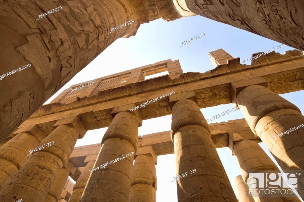 Stock Photo: The Great Hypostyle Hall of the Karnak Temple of Amun, Karnak, Thebes, UNESCO World Heritage Site, Egypt, North Africa, Africa.