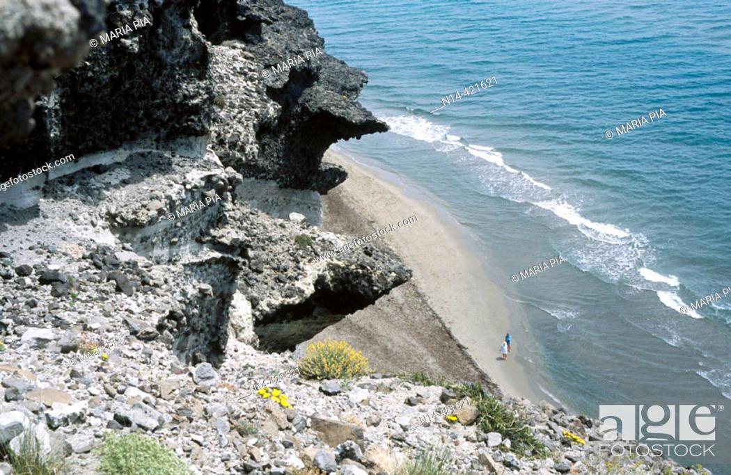 Stock Photo: Volcanic cliffs, Barronal beach. Cabo de Gata, Almería province. Andalusia, Spain.