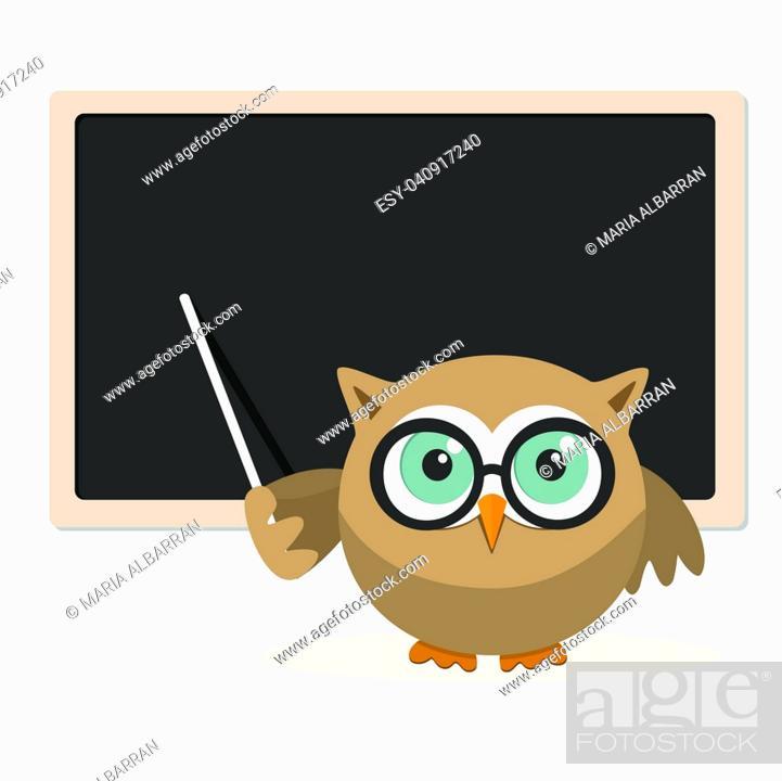 Stock Vector: Owl teacher explaining at school on a white background.