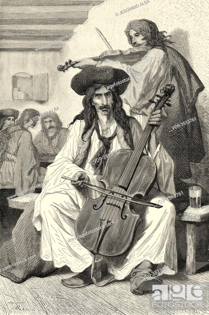 Stock Photo: Gypsy musican playing traditional music songs, Hungary. Europe, Old engraving illustration Trip land of southern Slavs by M. Perrot.