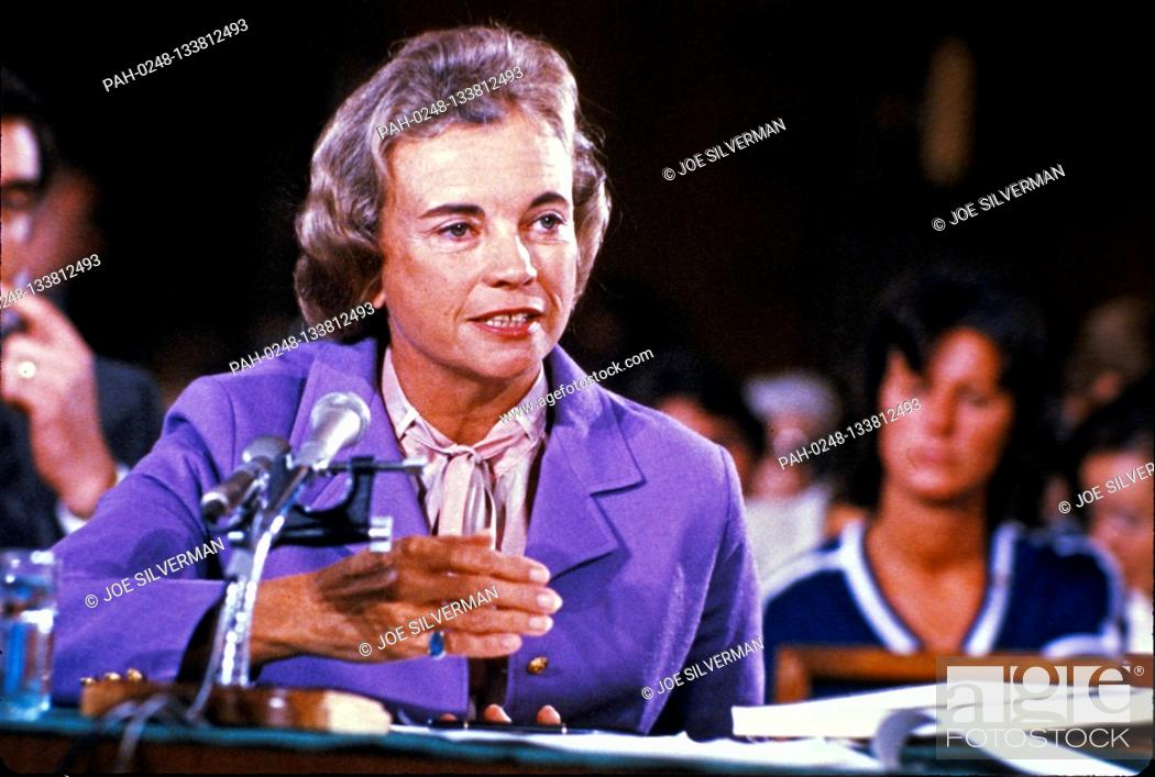 Stock Photo: Judge Sandra Day O'Connor, of the Arizona Court of Appeals, United States President Ronald Reagan's nominee as Associate Justice of the Supreme Court to replace.