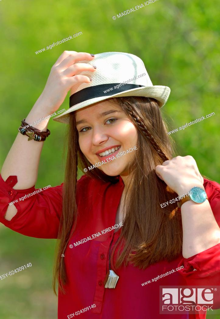 Photo de stock: Portrait of teen girl in forest in spring time.