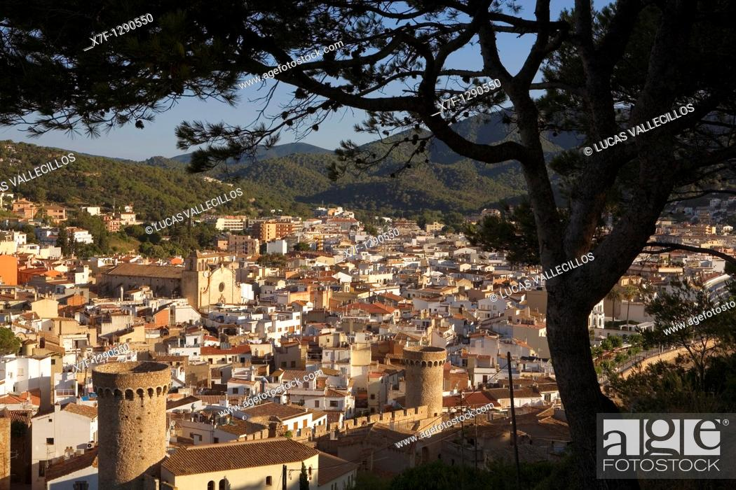 Stock Photo: Tossa de Mar As seen from the old city Villa Vella  With Parochial church and towers of the old city wall Villa Vella Costa Brava  Girona province  Catalonia.