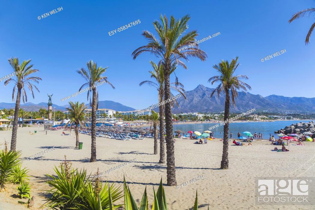 Stock Photo: Marbella, Costa del Sol, Malaga Province, Andalusia, southern Spain. Puerto Banus beach with La Concha mountain in background.