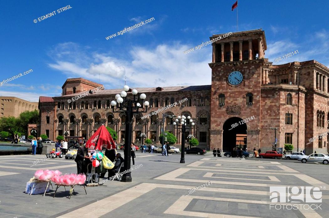 Stock Photo: Public building, Republic Square at downtown Yerevan, Jerewan, Armenia, Asia.