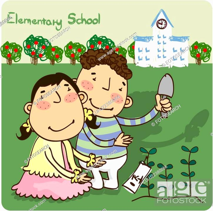 Stock Photo: outdoors, elementaryschool, girl, boy, student, child.