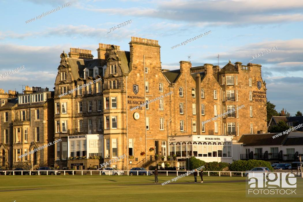 Stock Photo Royal And Ancient Golf Course Macdonald Rusacks Hotel St Andrews Fife Scotland Uk