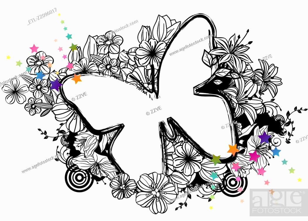 Stock Photo: Butterfly shape with flora design.