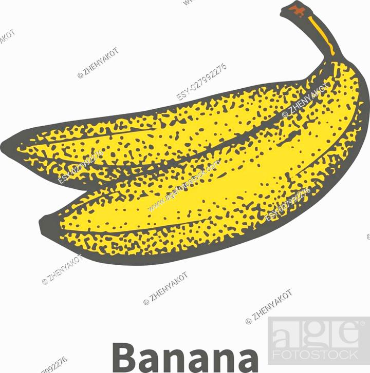 Stock Vector: Vector illustration doodle sketch hand-drawn ripe yellow banana. Isolated on white background. The concept of harvesting. Vintage retro style.