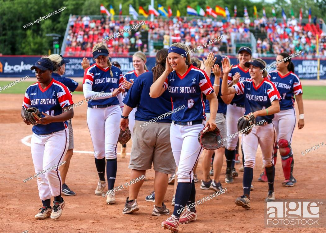 Stock Photo: Players L-R front NERISSA MYERS, ALICJA WOLNY, SYDNEY BROWN of Great Britain National women's softball team celebrate bronze medal after the Women's European.