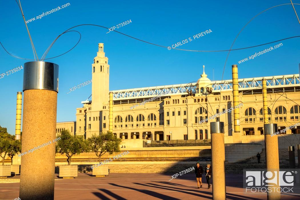 Stock Photo: Lluis Companys Olympic Stadium of Montjuic in Barcelona Catalonia Spain.