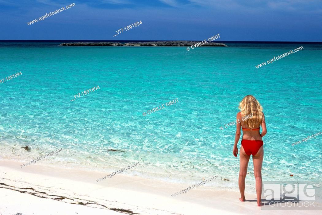 Stock Photo: Blond woman on tropical beach, Cayo Santa Maria, Cuba.