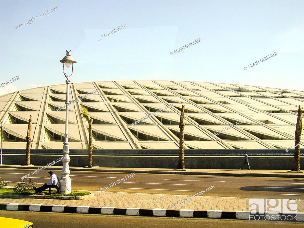 Stock Photo: Egypt, Alexandria, Bibliotheca Alexandrina, the facade could be an invocation of the sun.