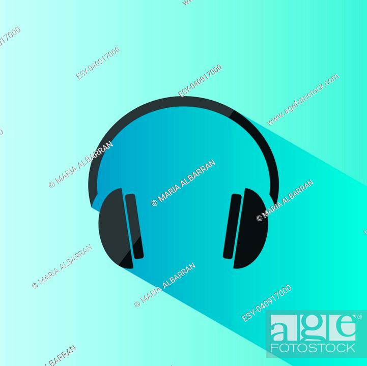 Stock Vector: Headphones icon on a blue background with shade.