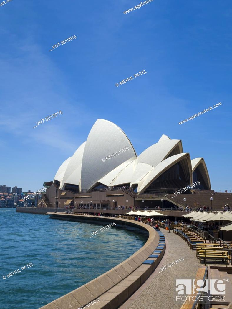 Stock Photo: Sydney Opera House and Opera Bar, Sydney Harbour, Sydney, New South Wales, Australia, .