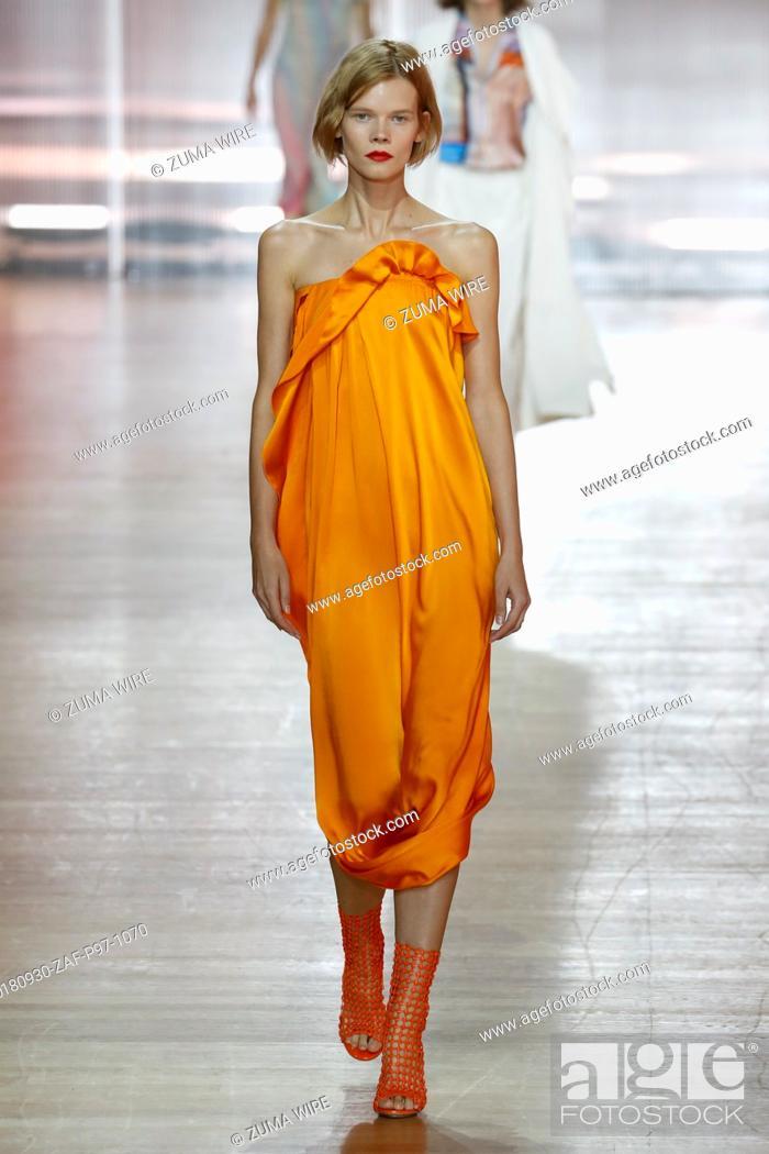 Stock Photo: September 30, 2018 - Paris, France - Poiret. - Model On Catwalk, Woman Women, Paris Fashion Week 2019 Ready To Wear For Spring Summer, Defile.
