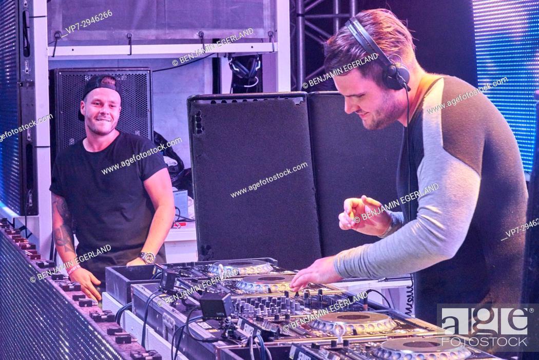 Stock Photo: DJ D-Wayne & MC Tjen at music festival Starbeach in Hersonissos, Crete, Greece, on 19. July 2017.