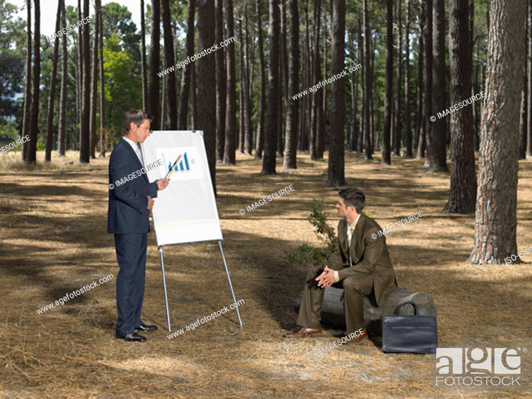 Stock Photo: Businessmen holding meeting in forest.