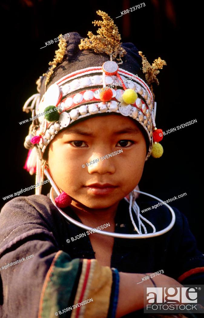 Stock Photo: Akha girl near Muang Sing. North Laos.