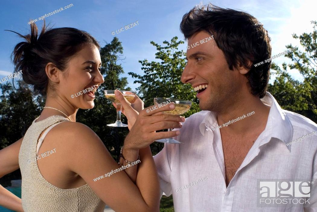 Stock Photo: Couple drinking champagne.