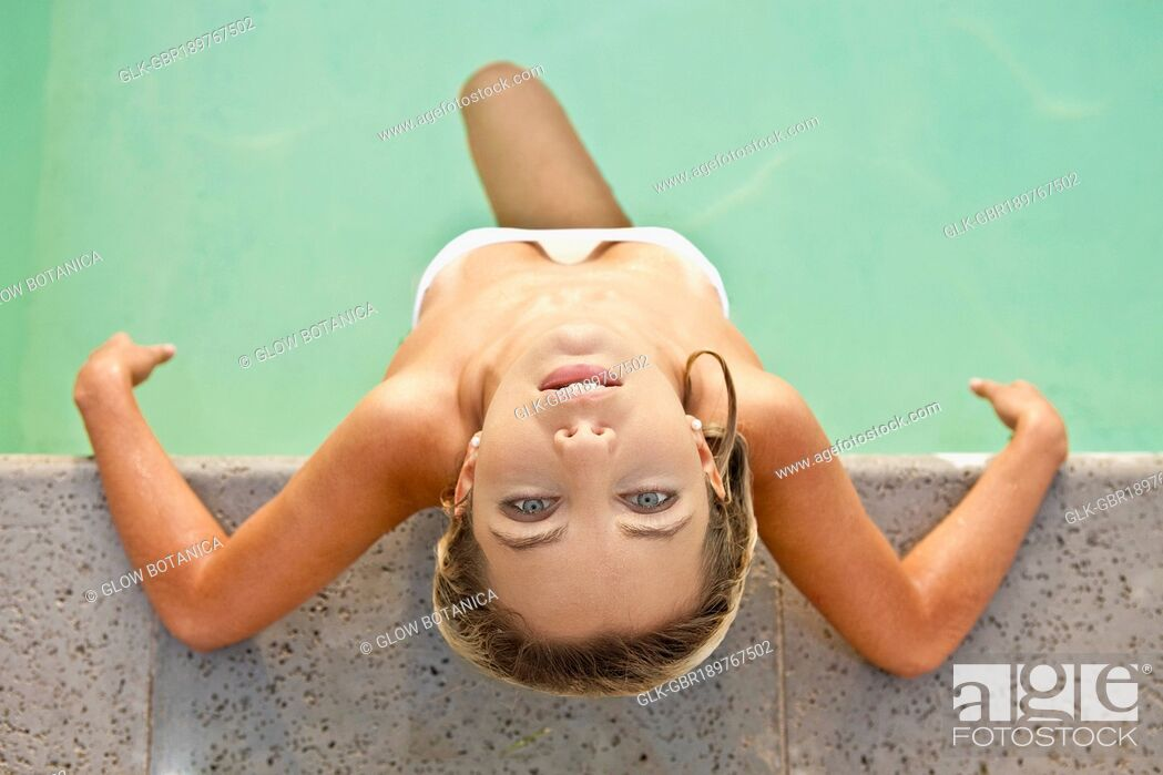 Stock Photo: High angle view of a woman in a swimming pool.