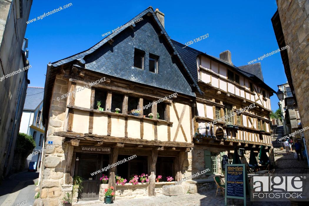 Stock Photo: Typical houses in the old town of Auray, in Morbihan department, Brittany Region  France.