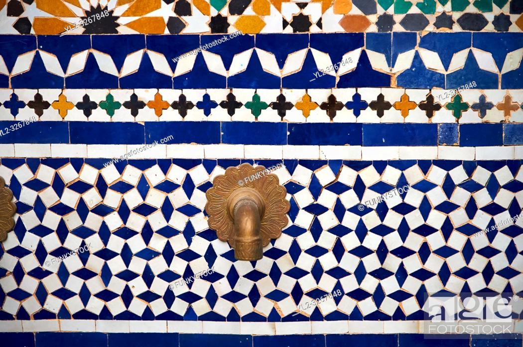 Stock Photo: Berber Arabesque Zellige tiles of the Marrakesh museum in the Dar Menebhi Palace, Marrakesh, Morocco.