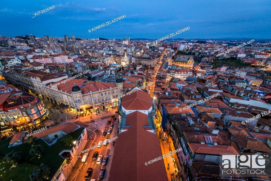 Stock Photo: Evening in Porto, second largest city in Portugal. Aerial view from bell tower of Clerigos Church.