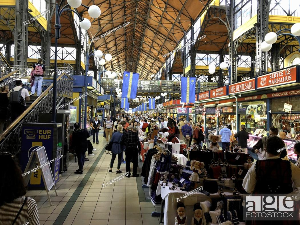 Stock Photo: The Central market is a magnificent renascence of local sellers selling things that are a vital component of Hungarian culture. Budapest Hungary.