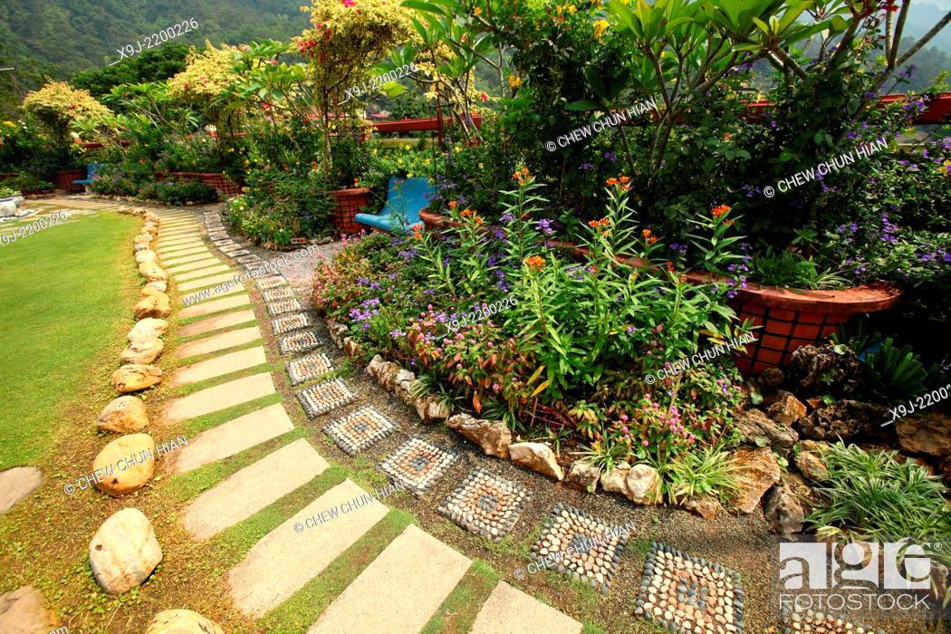 Stock Photo: Gardening in Kek Lok Si Temple, Penang, Malaysia.