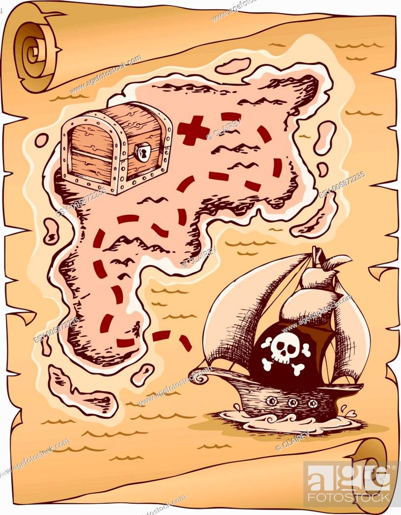 Stock Vector: Parchment with treasure map 1.