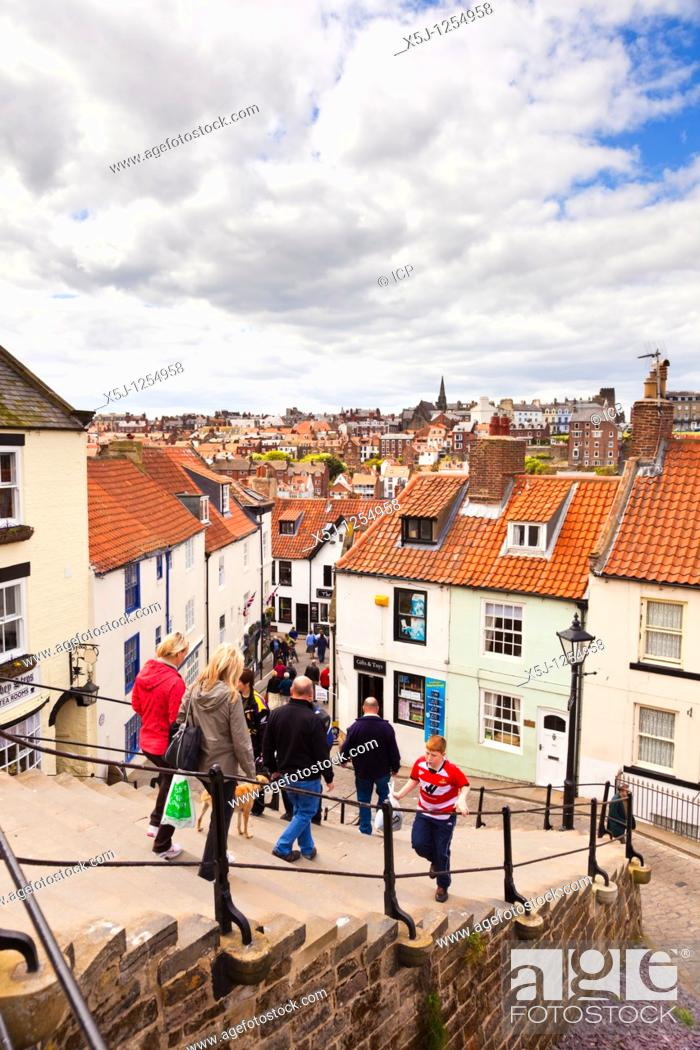 Stock Photo: Tourists on the Whitby Steps Whitby North Yorkshire England UK.