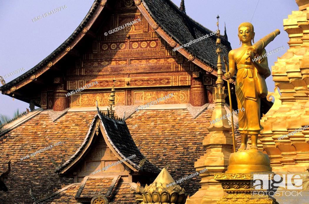 Stock Photo: China, Yunnan province, Xishuangbanna region, Ganlanba Menghan, the buddhist Chunman temple.