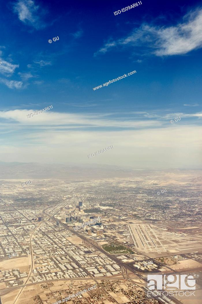 Stock Photo: Aerial view of desert development, Nevada, USA.