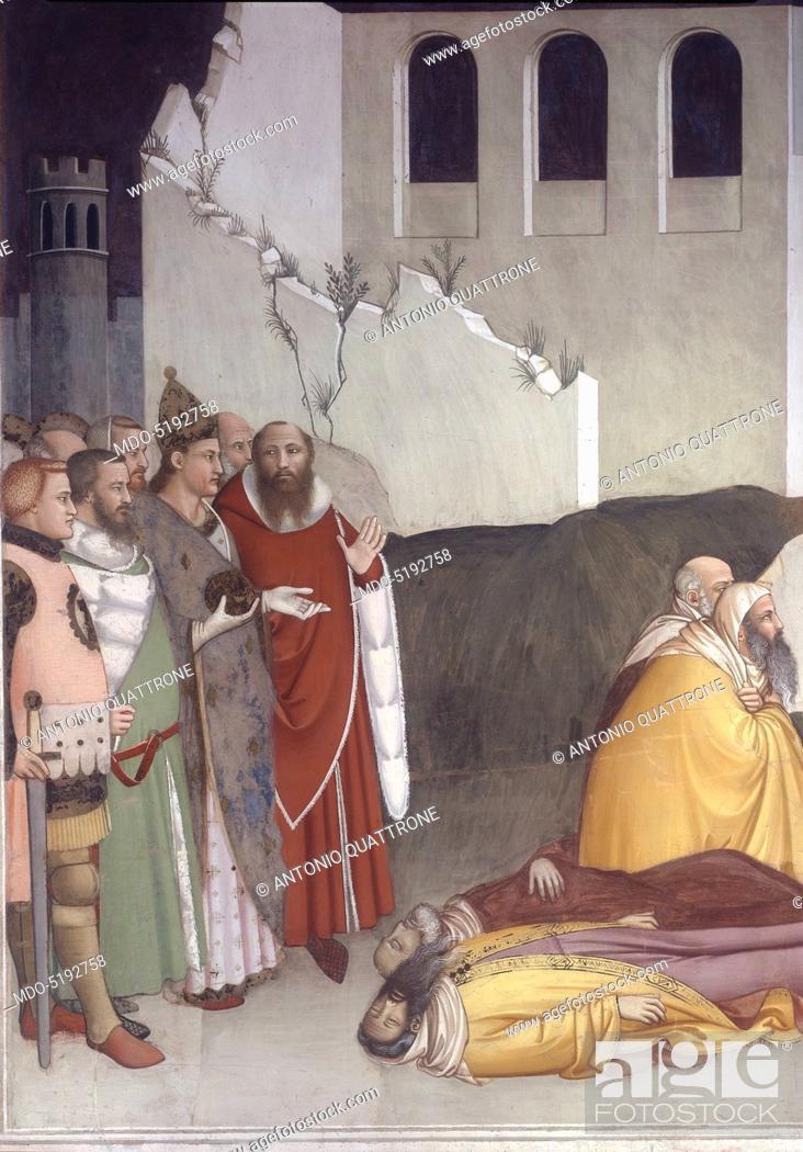 Stock Photo: Sylvester Closing the Jaws of a Dragon and Resuscitating two Wizards (San Silvestro chiude le fauci a un drago e resuscita due maghi), by Maso di Banco, 1340.