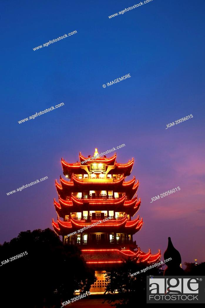 Stock Photo: China, Hubei Province, Wuhan, Wuchang, Yellow Crane Tower, Nightlife.