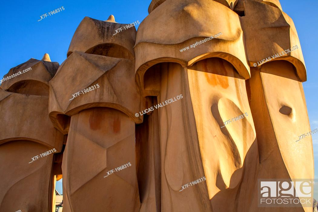 Stock Photo: Detail of rooftop Chimneys in Casa Mila, La Pedrera, Barcelona, Catalonia, Spain.