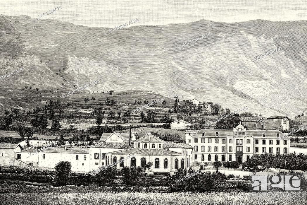 Stock Photo: The Alava spa of Zuazo de Cuartango was one of the most famous in northern Spain in the 19th and 20th century, Spain. Old XIX century engraved illustration from.
