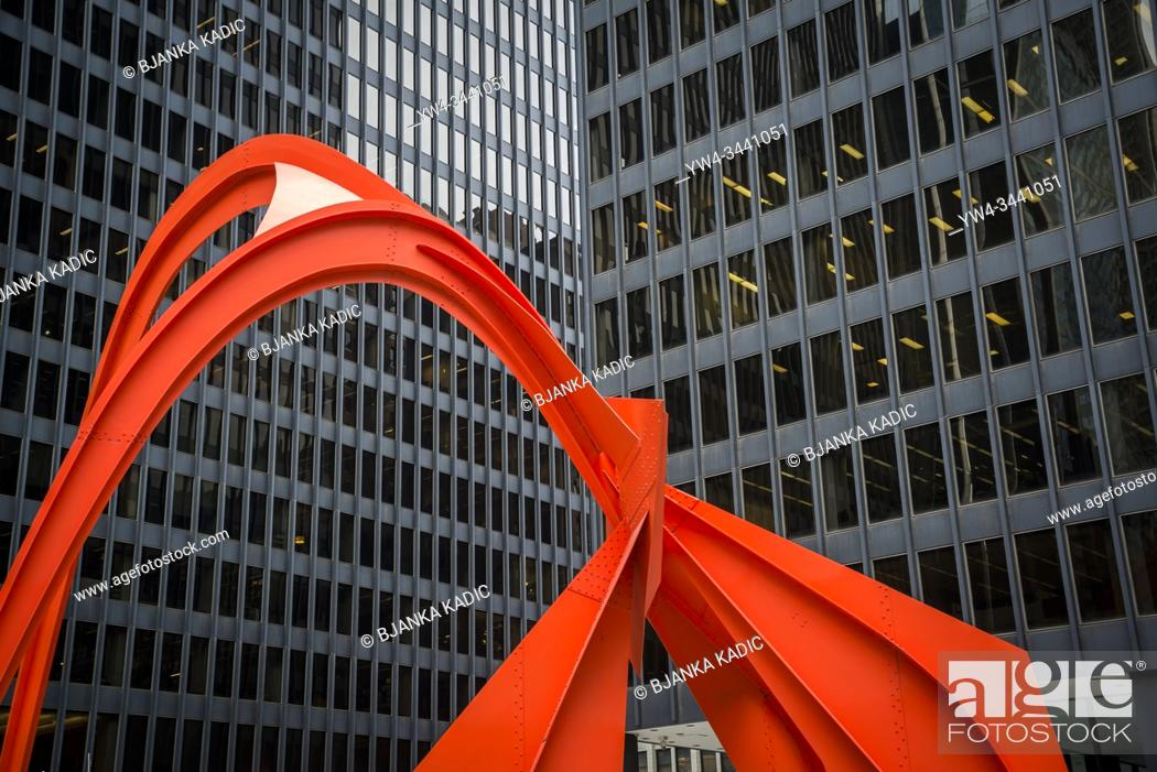 Stock Photo: Flamingo sculpture by Alexander Calder, is a stabile located in the Federal Plaza in front of the Kluczynski Federal Building, Chicago, Illinois, USA.