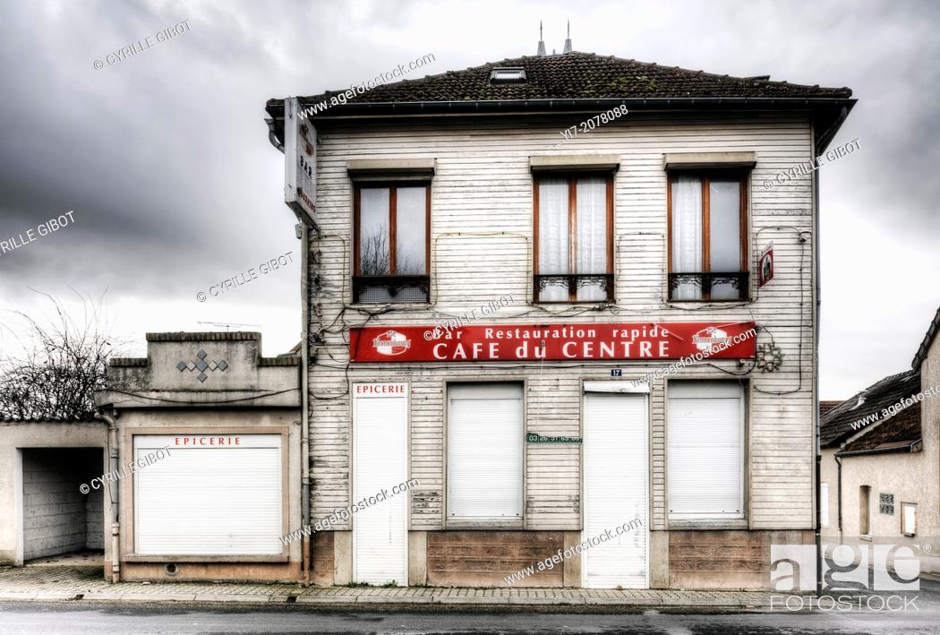 Stock Photo: Closed cafe in French village, Aigny, Marne, France.